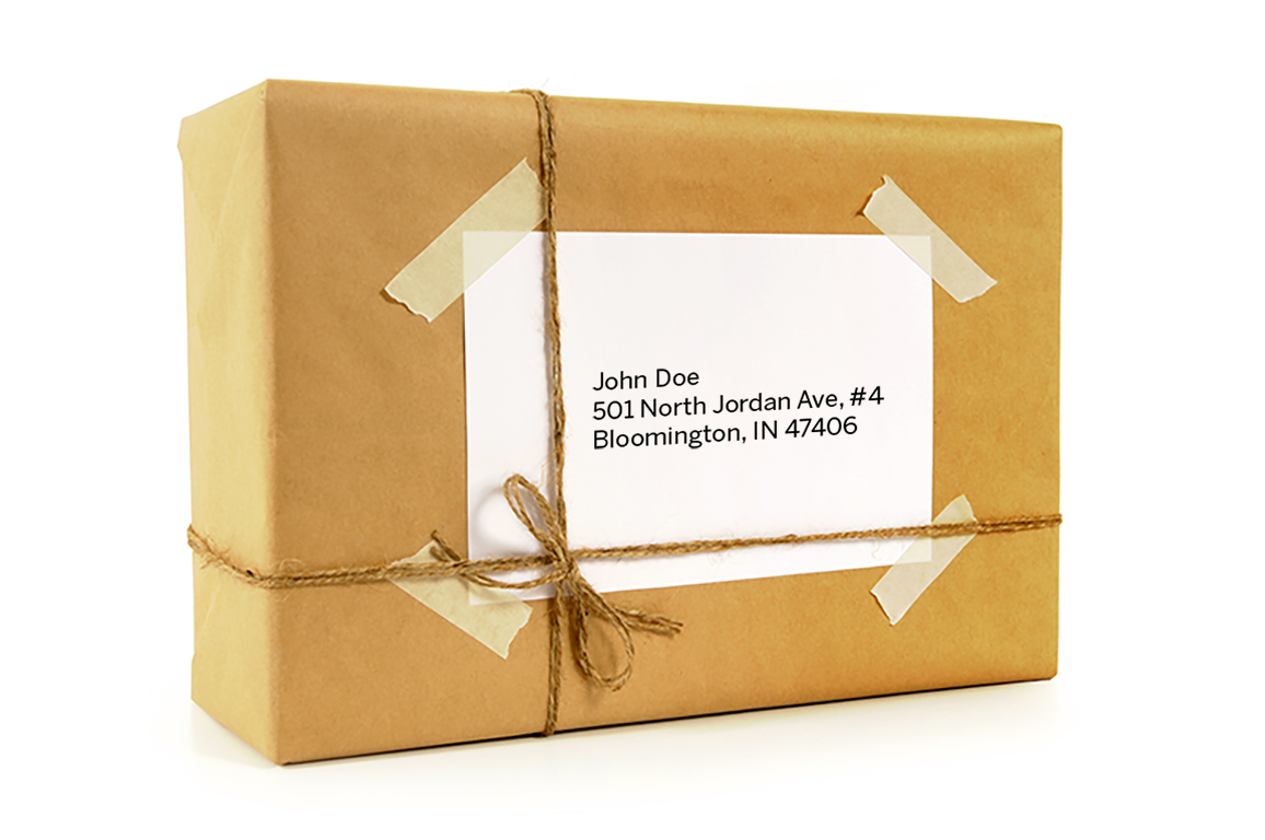 Care package with address example. John Doe 501 North Jordan Ave, #4 Bloomington, IN 47406