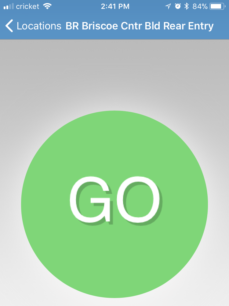 Image of Go button to unlock door